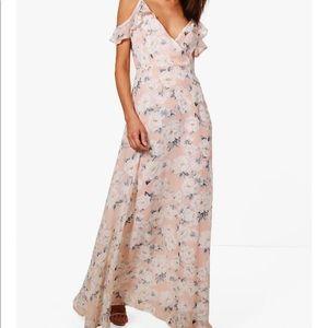 Boohoo cold shoulder floral maxi dress